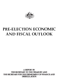 Cover image of Pre-Election Econcomic and Fiscal Outlook